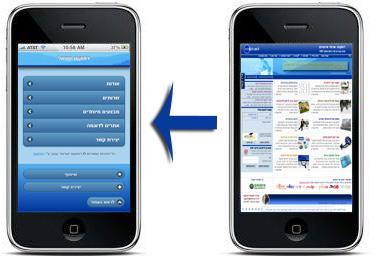 אתר האינטרנט שלך  ...... אל מול אתר אינטרנט המותאם במיוחד לסלולרי
